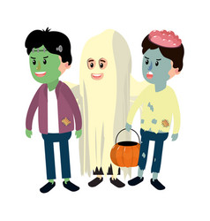 happy children with funny costumes in halloween vector image