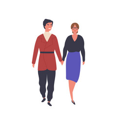 Happy couple on stroll flat vector