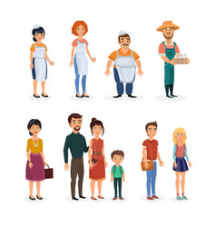 Happy isolated cartoon sellers and customers vector