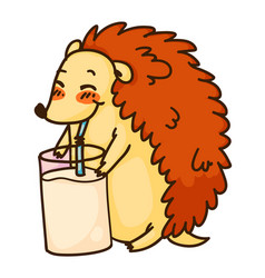 hedgehog drinking milk from glass isolated on vector image