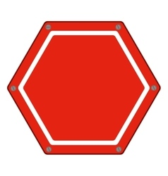Hexagon of road sign red icon flat vector