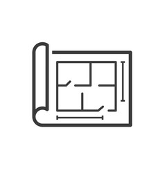 house building plan or blueprint line icon vector image