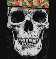 Human skull art hand drawn vector