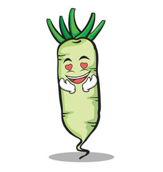 In love white radish cartoon character vector