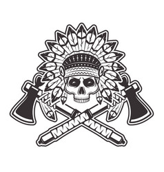 Indian chief skull with tomahawks vector
