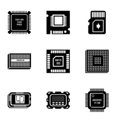 integrated circuit icons set simple style vector image