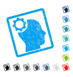 Intellect gear icon rubber watermark vector