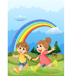 Kids playing at the hilltop with a rainbow in the vector