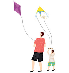 leisure dad and son playing kite people vector image