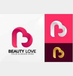 Letter b beauty love logo design brand identity vector