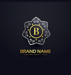 Letter b logo design with floral element vector