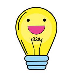 Light bulb kawaii vector