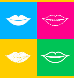 Lips sign four styles of icon on vector