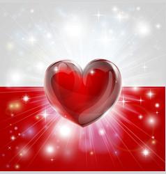 Love poland flag heart background vector