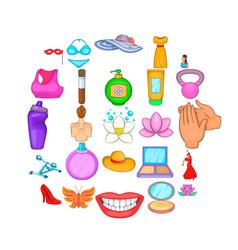 Loveliness icons set cartoon style vector