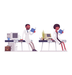 Male and female black scientist working vector