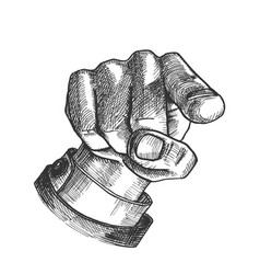 male hand index finger pointing gesture vector image