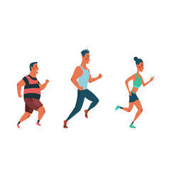 men and women running marathon race group of vector image