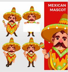 mexican sobrero mascot character set logo icon vector image