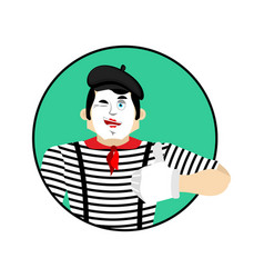 Mime winks and thumb up happy pantomime merry vector