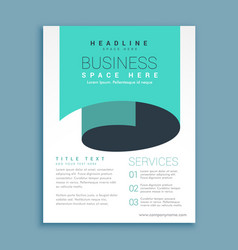 Minimal a4 brochure flyer design with blue paper vector
