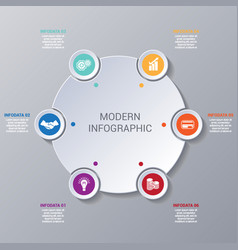 Modern infographic numbered 6 options vector
