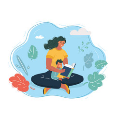 mother reading a story to child vector image