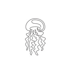 one single line drawing adorable jellyfish vector image