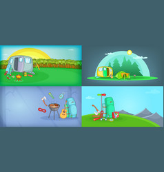 outdoors banner set horizontal cartoon style vector image