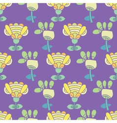 pattern with bright flowers on a purple background vector image