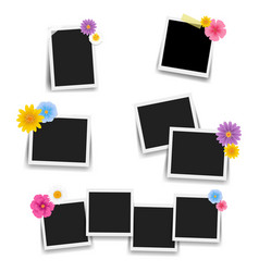 Photo frame with flowers big set vector
