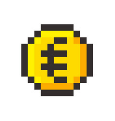 pixel art euro golden coin retro video game vector image