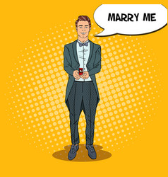 pop art handsome man with wedding ring vector image