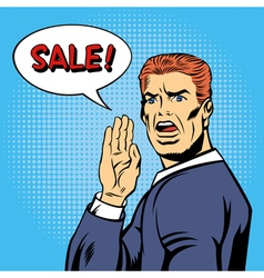 Pop Art Style Sale Poster Vintage Man Shouts Sale vector image