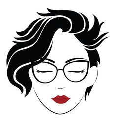 portrait a girl with glasses head a vector image
