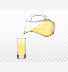 Pouring lemonade from jug in glass vector