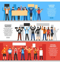 Protesting Crowd Horizontal Banners vector