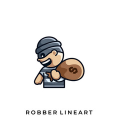 robber dollar template vector image