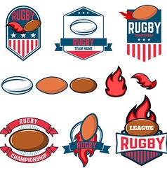 rugby league labels emblems and design vector image