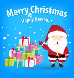 santa claus and snow theme merry christmas and vector image