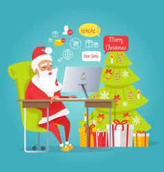 Santa mail merry christmas man reading letters vector