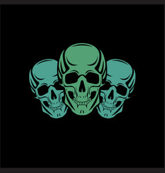 scull black background vector image