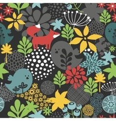 Seamless pattern with cute birds and small fox vector image
