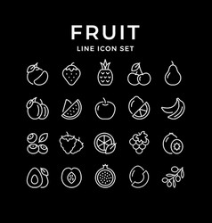 set line outline icons fruit vector image