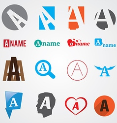 Set of alphabet symbols of letter A vector image