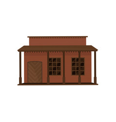 small western house with wood door and porch old vector image