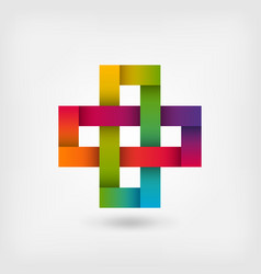 Solomon knot in rainbow colors vector