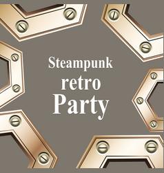steampunk retro party invitation card vector image