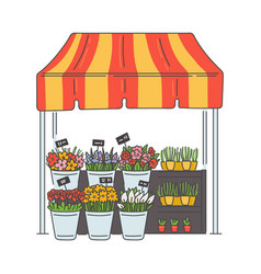Street market kiosk or stand with flowers sketch vector