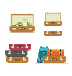 suitcase old open travel isolated set vector image